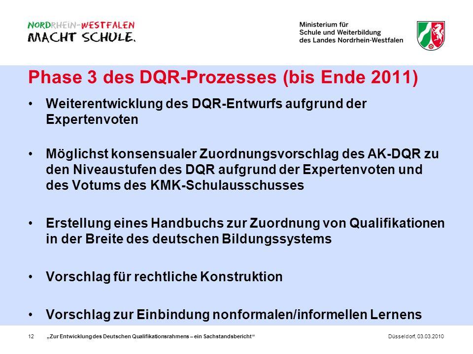 Phase 3 des DQR-Prozesses (bis Ende 2011)
