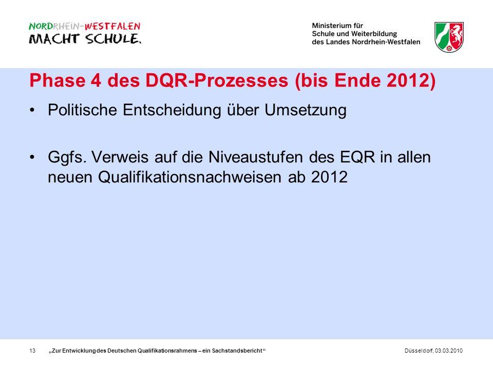 Phase 4 des DQR-Prozesses (bis Ende 2012)