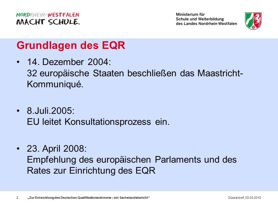 Grundlagen des EQR14. Dezember 2004: 32 europäische Staaten beschließen das Maastricht-Kommuniqué.