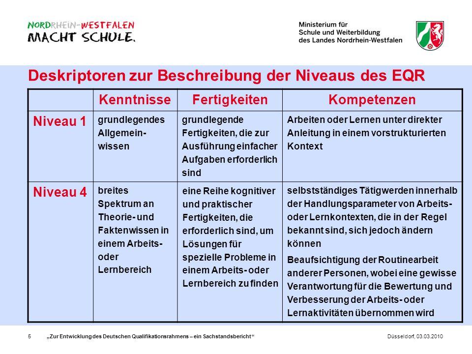 Deskriptoren zur Beschreibung der Niveaus des EQR