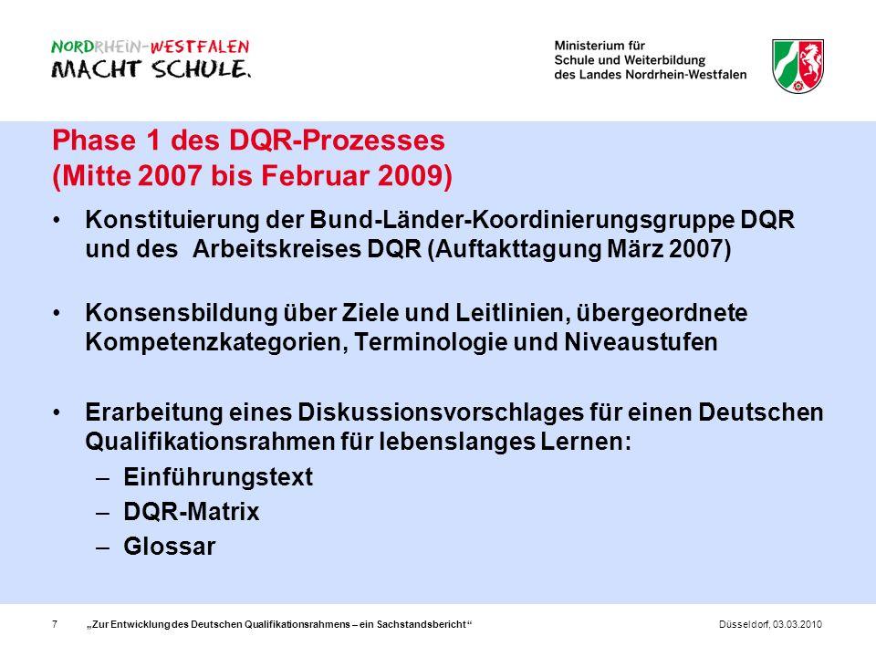 Phase 1 des DQR-Prozesses (Mitte 2007 bis Februar 2009)