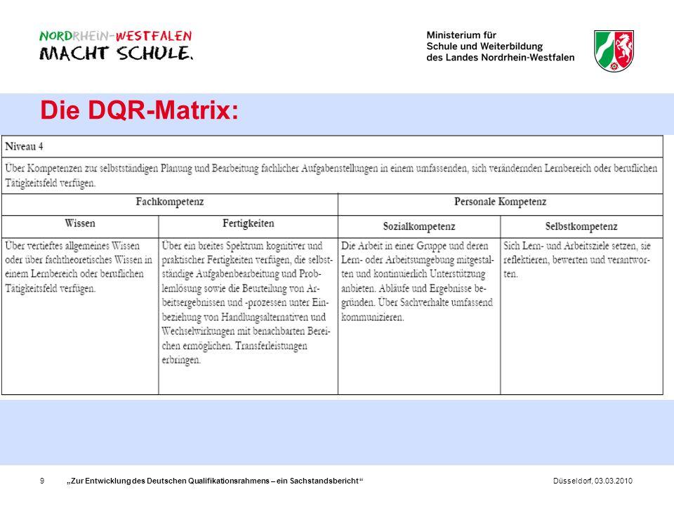 """Die DQR-Matrix: """"Zur Entwicklung des Deutschen Qualifikationsrahmens – ein Sachstandsbericht Düsseldorf, 03.03.2010."""