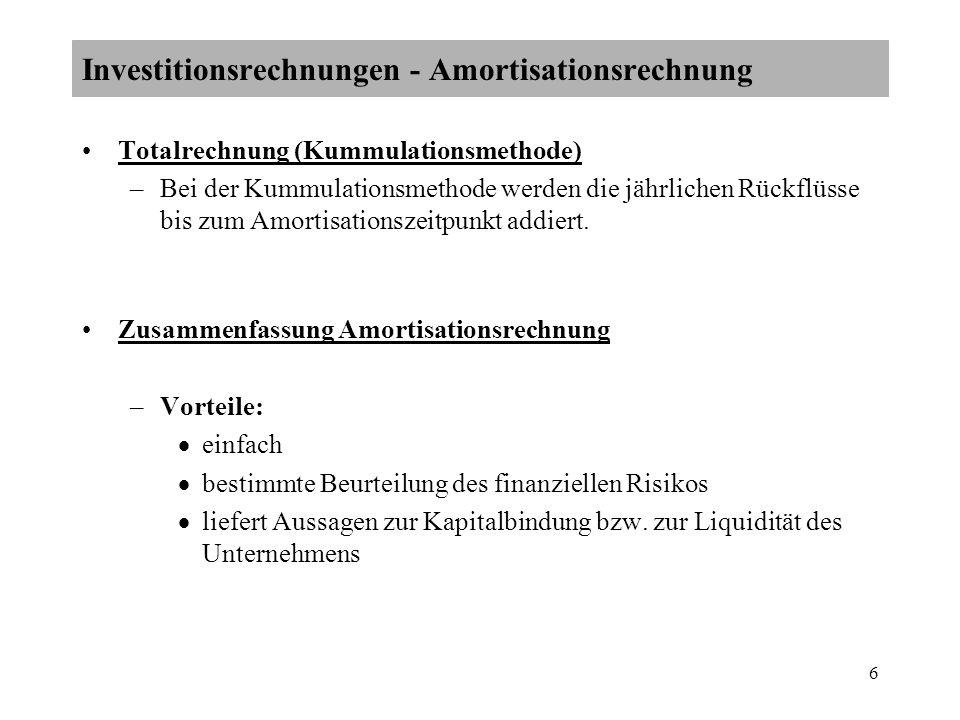 Investitionsrechnungen - Amortisationsrechnung