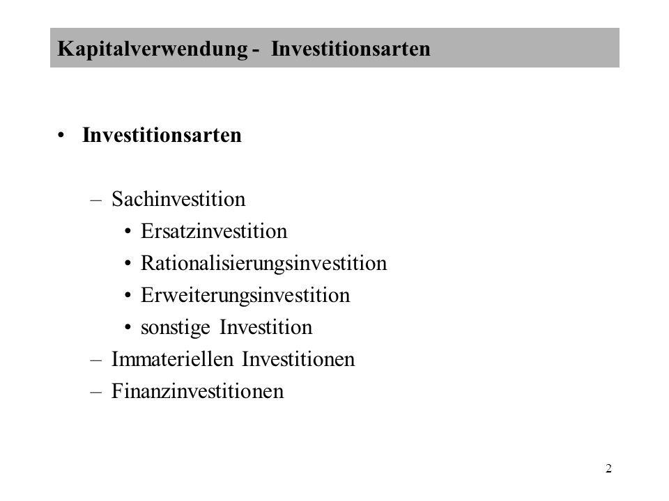Kapitalverwendung - Investitionsarten