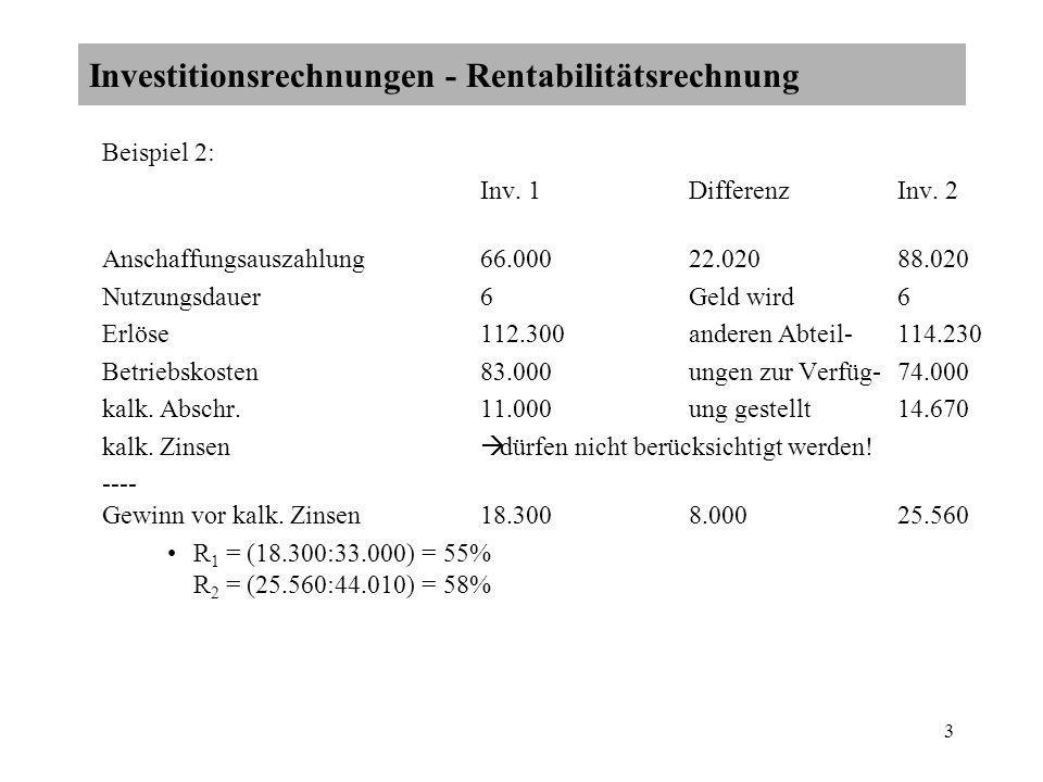 Investitionsrechnungen - Rentabilitätsrechnung