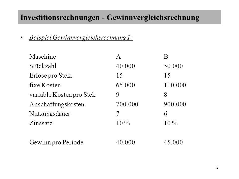 Investitionsrechnungen - Gewinnvergleichsrechnung