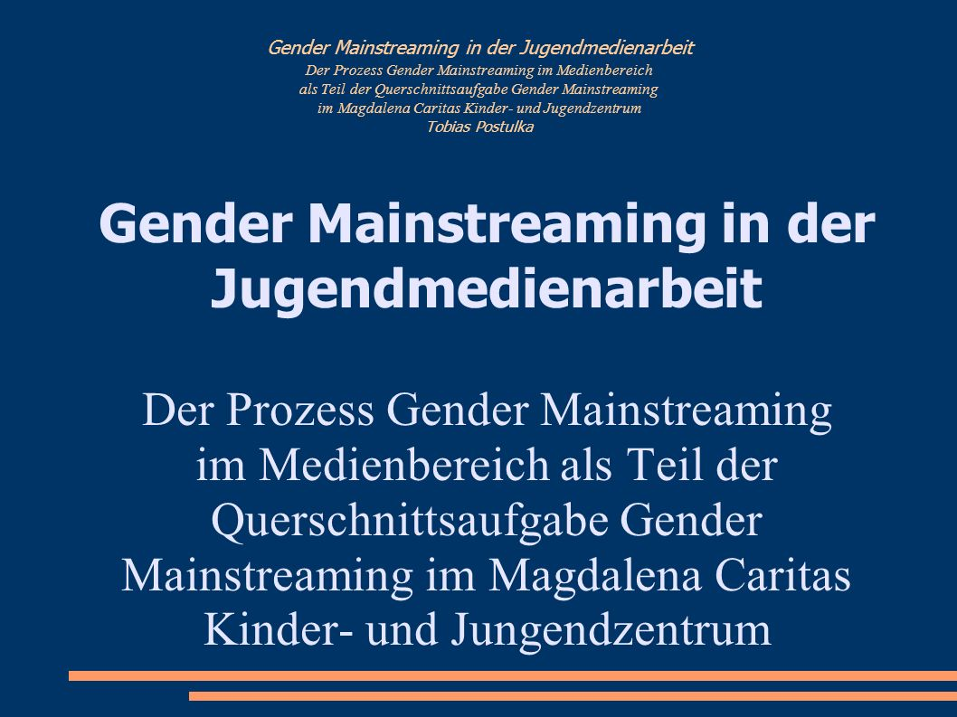 Gender Mainstreaming in der Jugendmedienarbeit