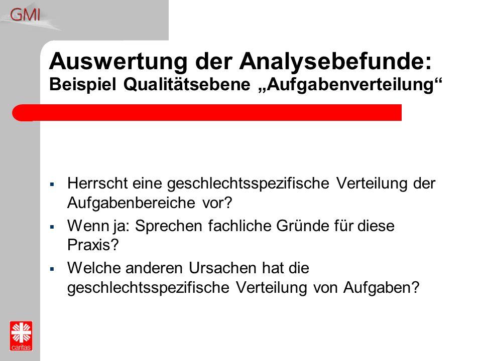 """Auswertung der Analysebefunde: Beispiel Qualitätsebene """"Aufgabenverteilung"""