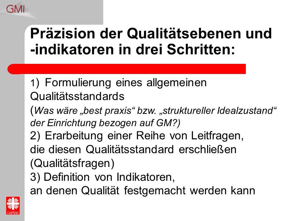 Präzision der Qualitätsebenen und -indikatoren in drei Schritten: