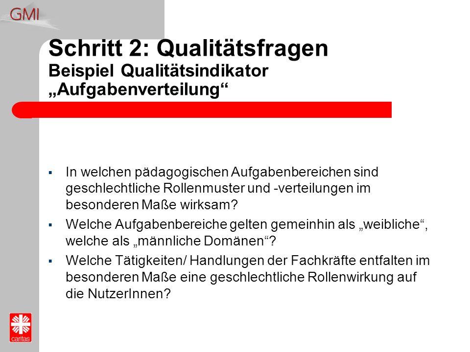 """Schritt 2: Qualitätsfragen Beispiel Qualitätsindikator """"Aufgabenverteilung"""