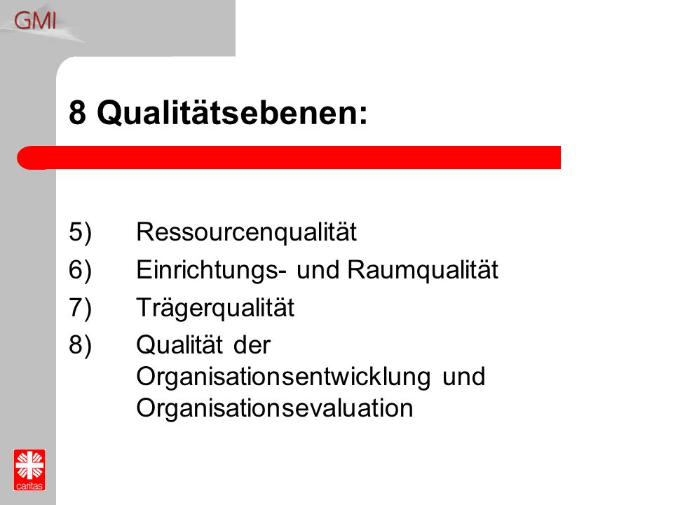 8 Qualitätsebenen: 5) Ressourcenqualität
