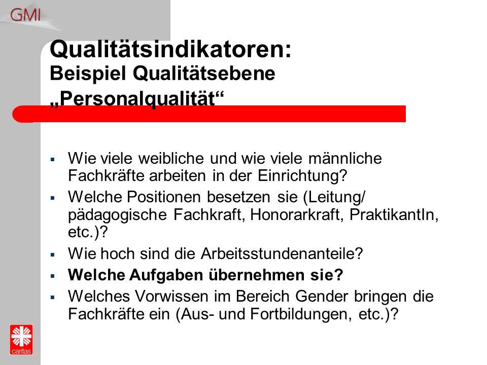 "Qualitätsindikatoren: Beispiel Qualitätsebene ""Personalqualität"