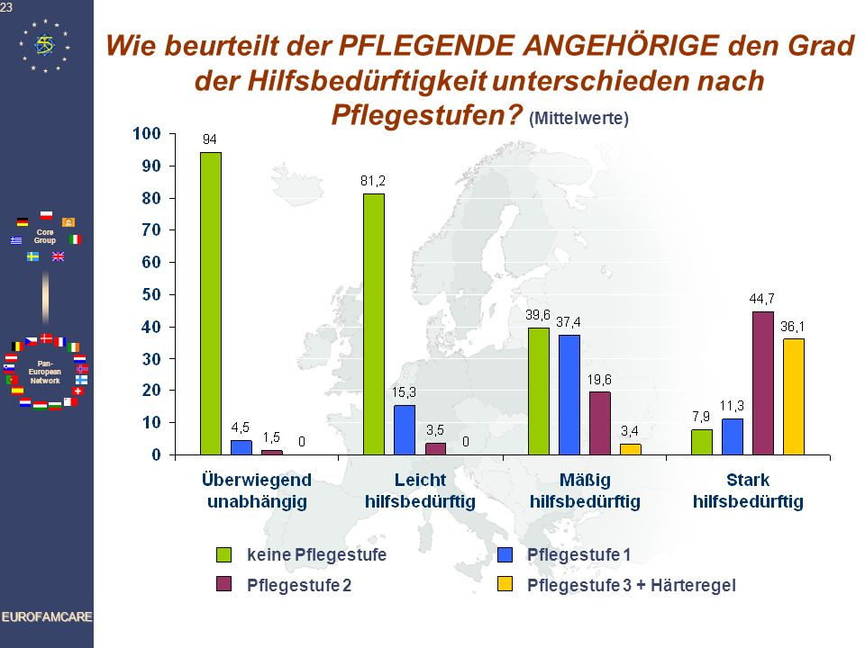 Wie beurteilt der PFLEGENDE ANGEHÖRIGE den Grad der Hilfsbedürftigkeit unterschieden nach Pflegestufen (Mittelwerte)