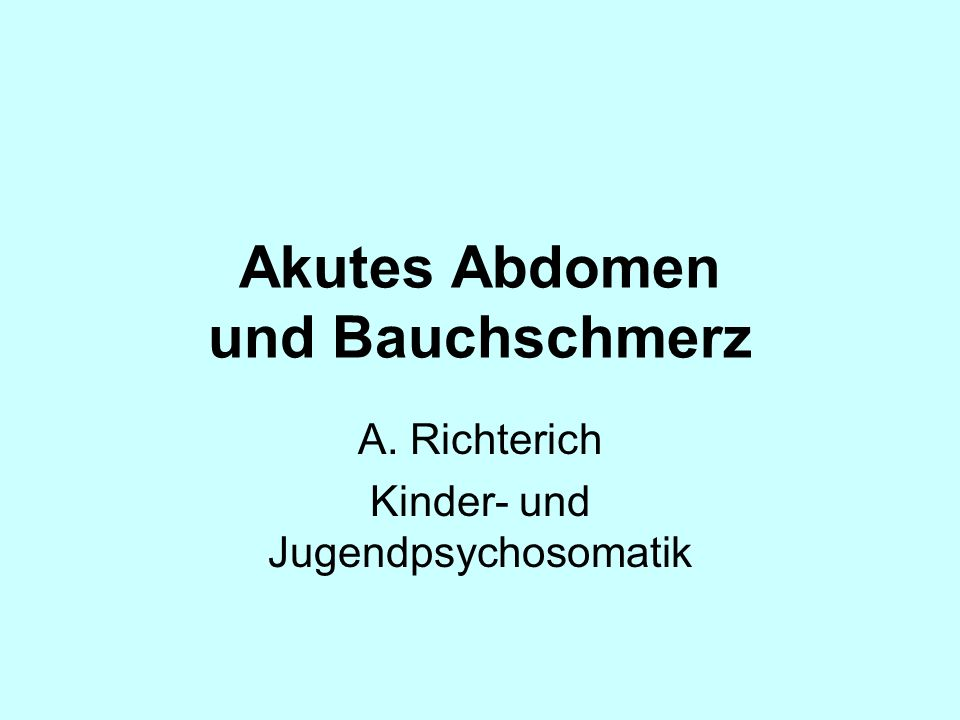 Akutes Abdomen und Bauchschmerz