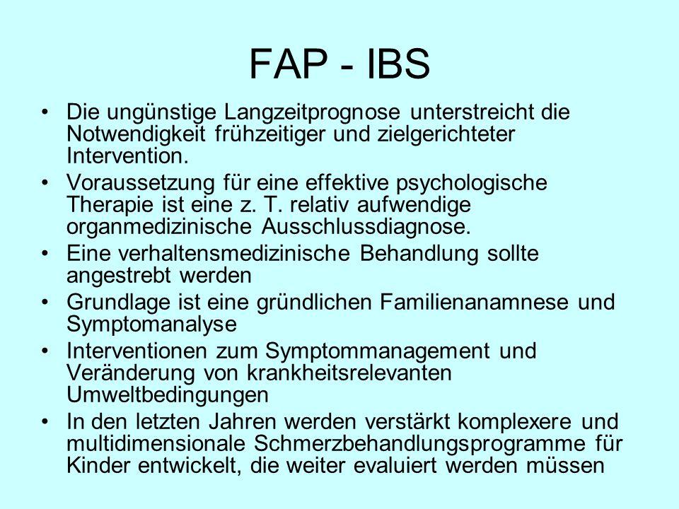 FAP - IBS Die ungünstige Langzeitprognose unterstreicht die Notwendigkeit frühzeitiger und zielgerichteter Intervention.