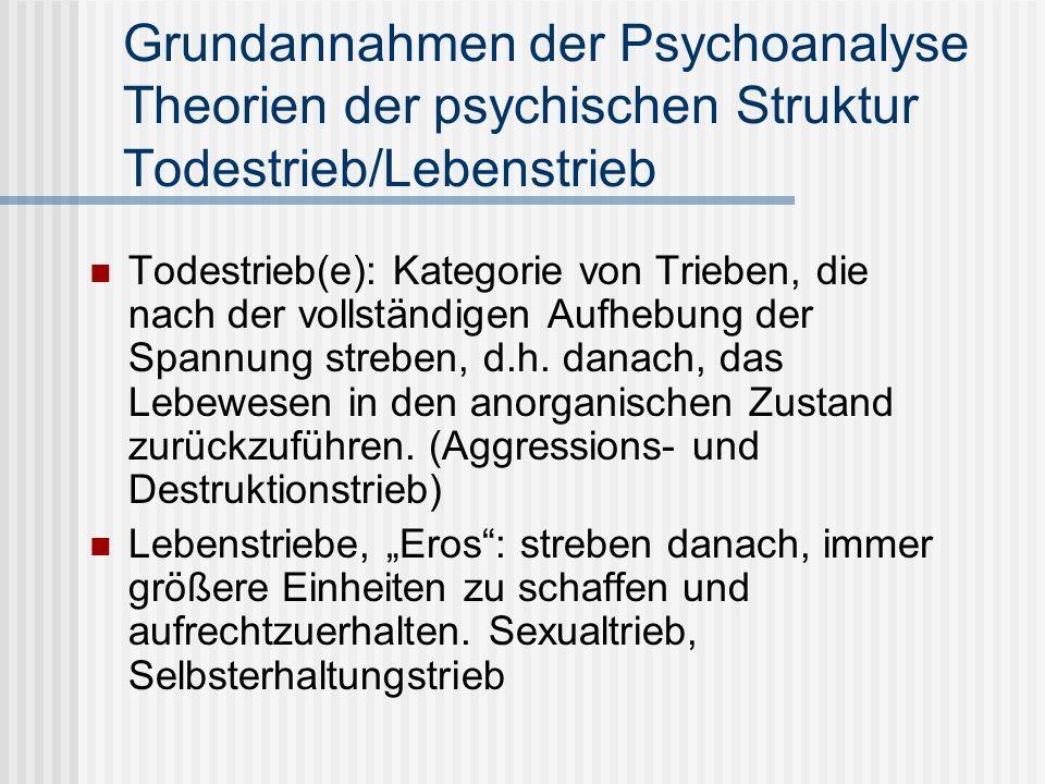 Grundannahmen der Psychoanalyse Theorien der psychischen Struktur Todestrieb/Lebenstrieb