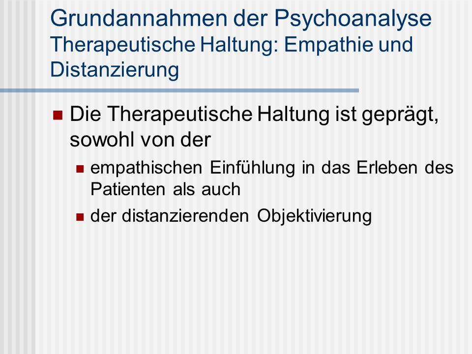 Grundannahmen der Psychoanalyse Therapeutische Haltung: Empathie und Distanzierung