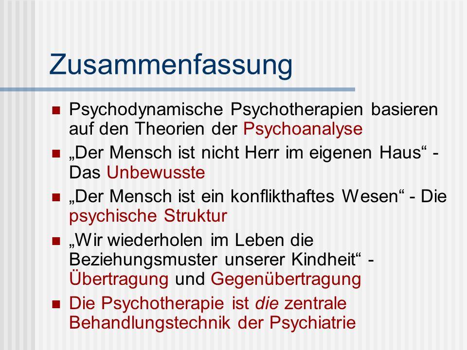 Zusammenfassung Psychodynamische Psychotherapien basieren auf den Theorien der Psychoanalyse.
