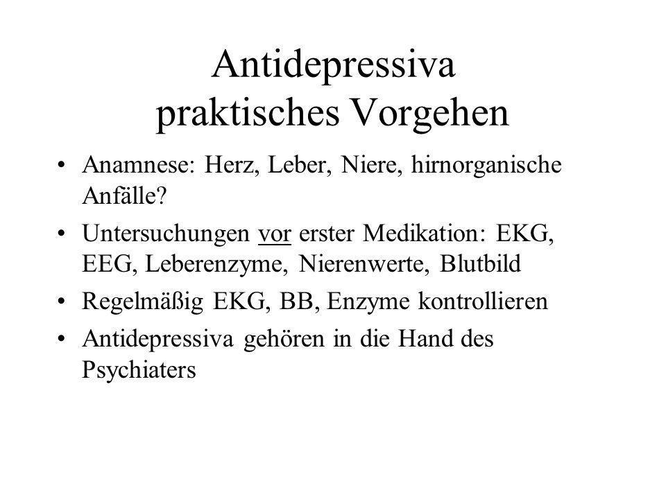 Antidepressiva praktisches Vorgehen
