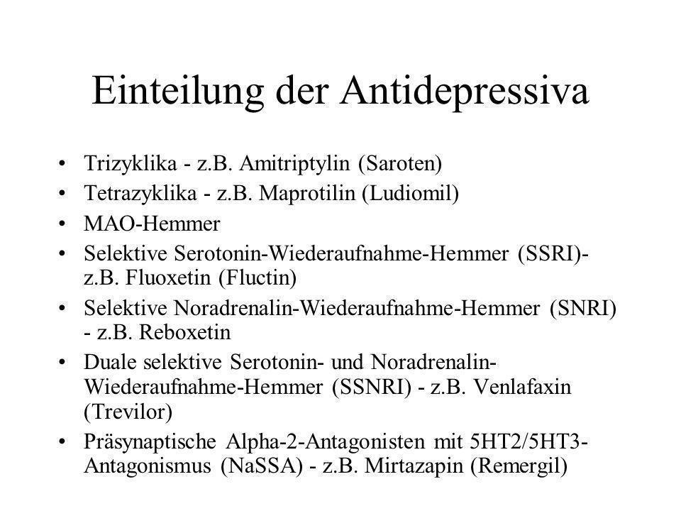 Einteilung der Antidepressiva