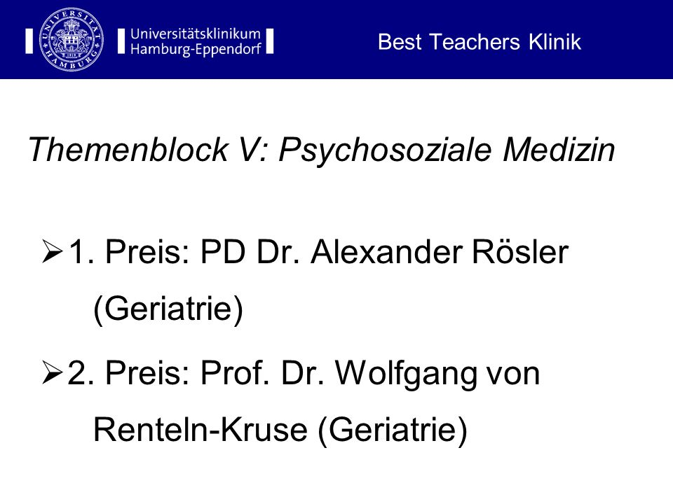 Themenblock V: Psychosoziale Medizin