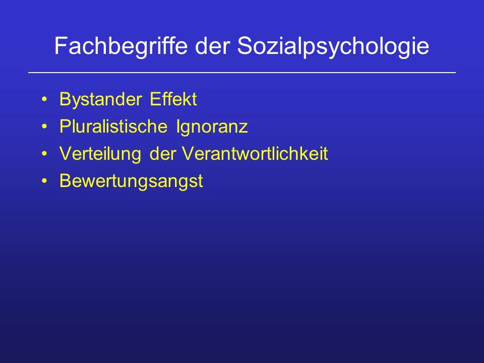 Fachbegriffe der Sozialpsychologie