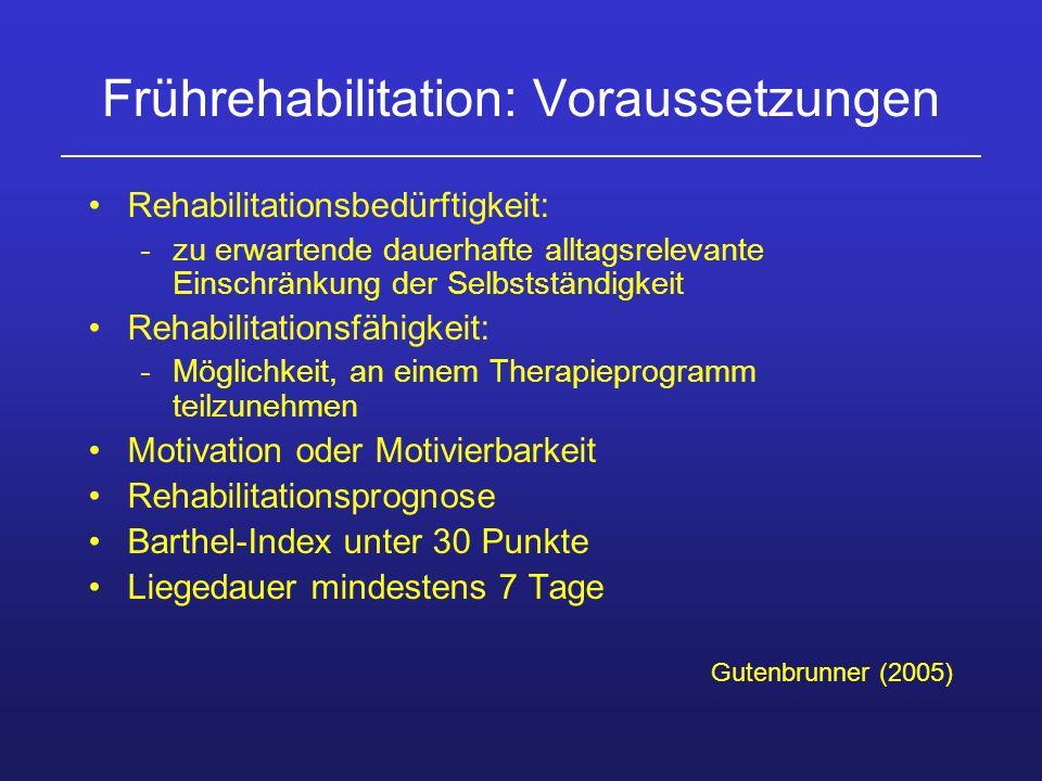 Frührehabilitation: Voraussetzungen