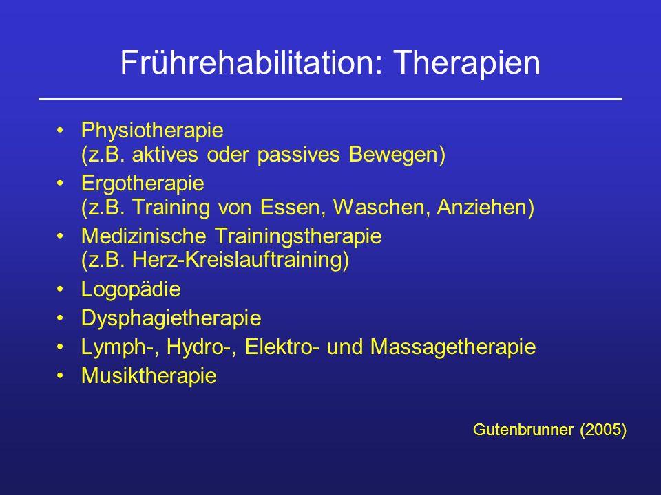 Frührehabilitation: Therapien