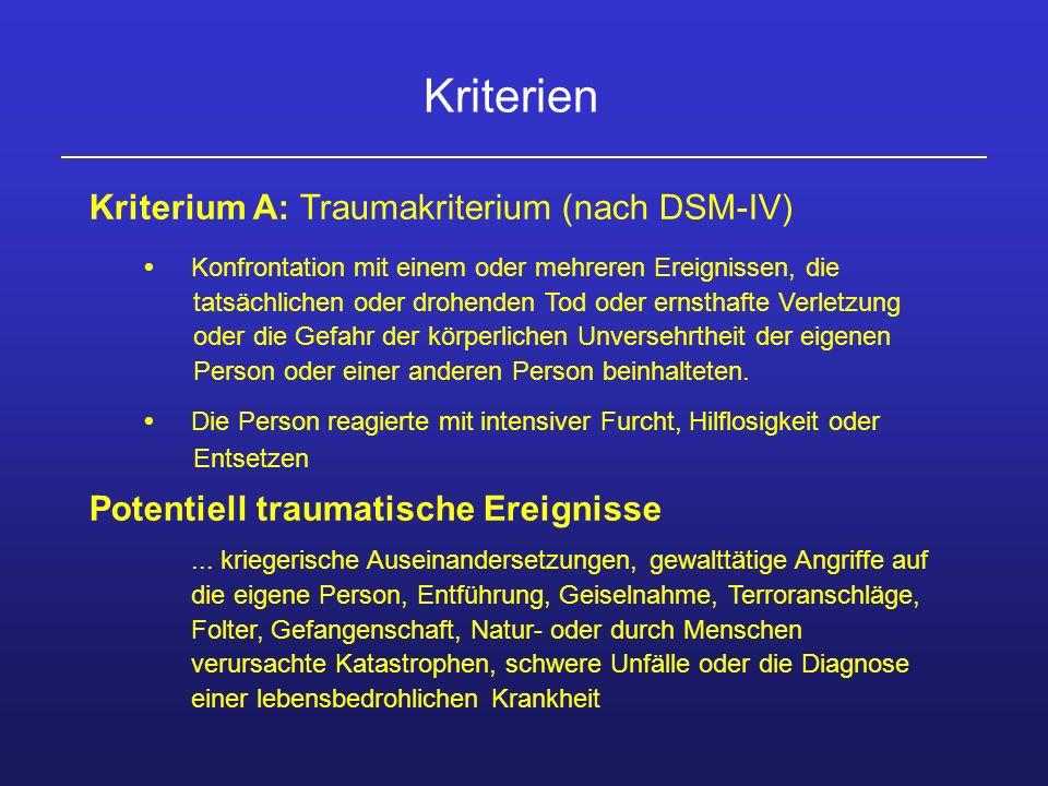 Kriterien Kriterium A: Traumakriterium (nach DSM-IV)