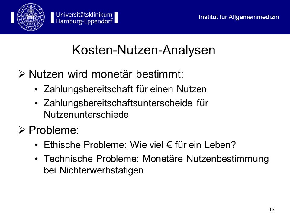 Kosten-Nutzen-Analysen