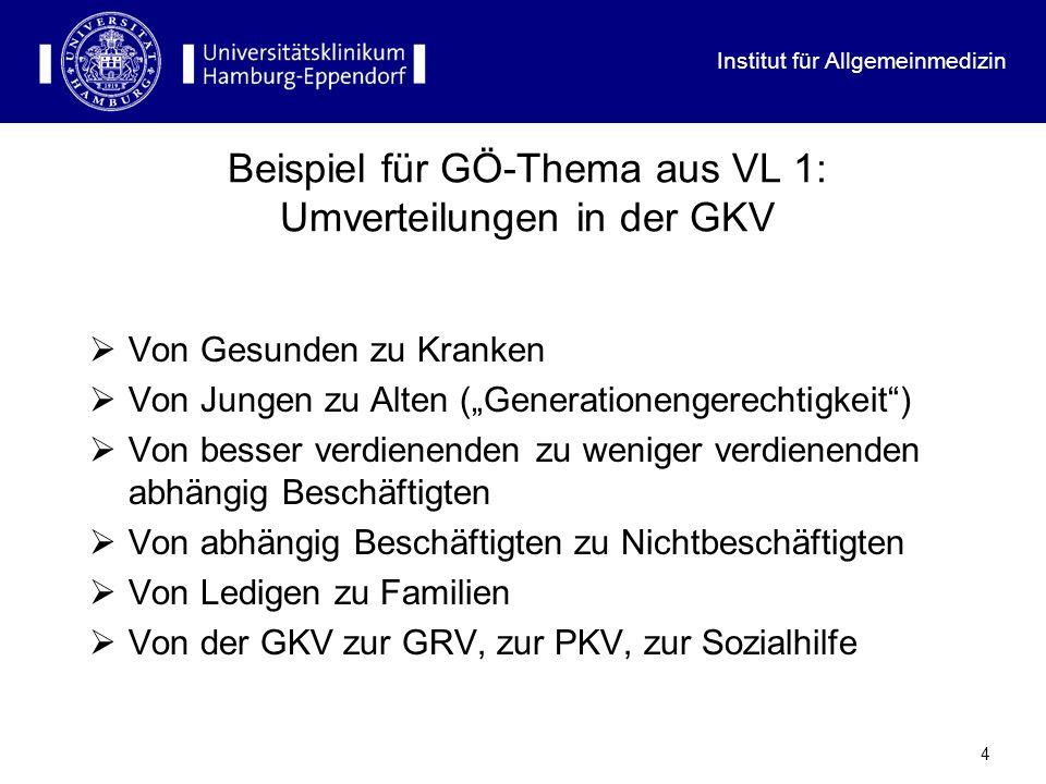 Beispiel für GÖ-Thema aus VL 1: Umverteilungen in der GKV