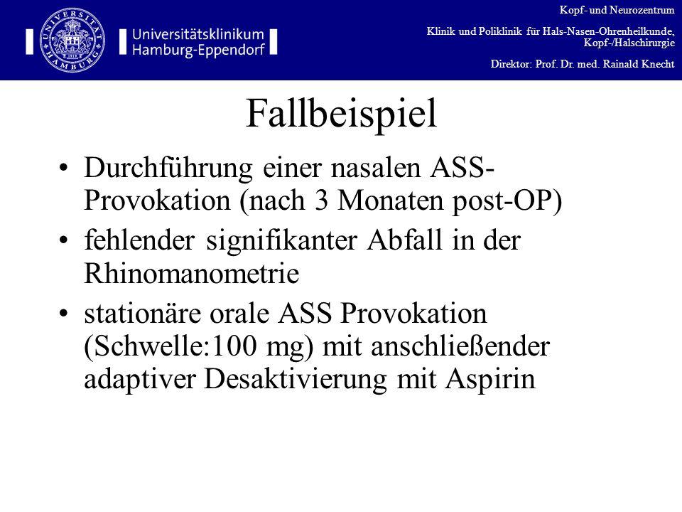Fallbeispiel Durchführung einer nasalen ASS-Provokation (nach 3 Monaten post-OP) fehlender signifikanter Abfall in der Rhinomanometrie.
