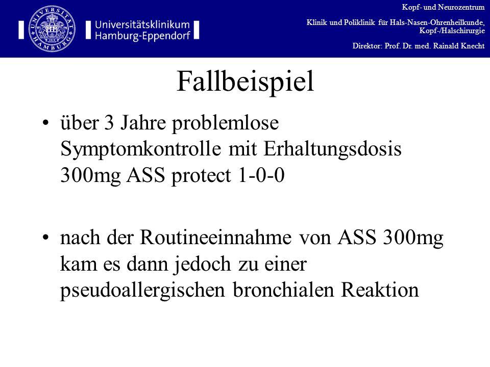 Fallbeispiel über 3 Jahre problemlose Symptomkontrolle mit Erhaltungsdosis 300mg ASS protect 1-0-0.