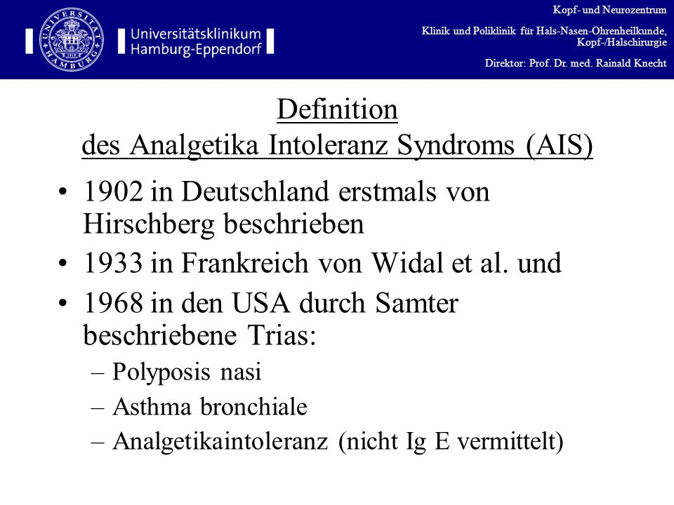 Definition des Analgetika Intoleranz Syndroms (AIS)