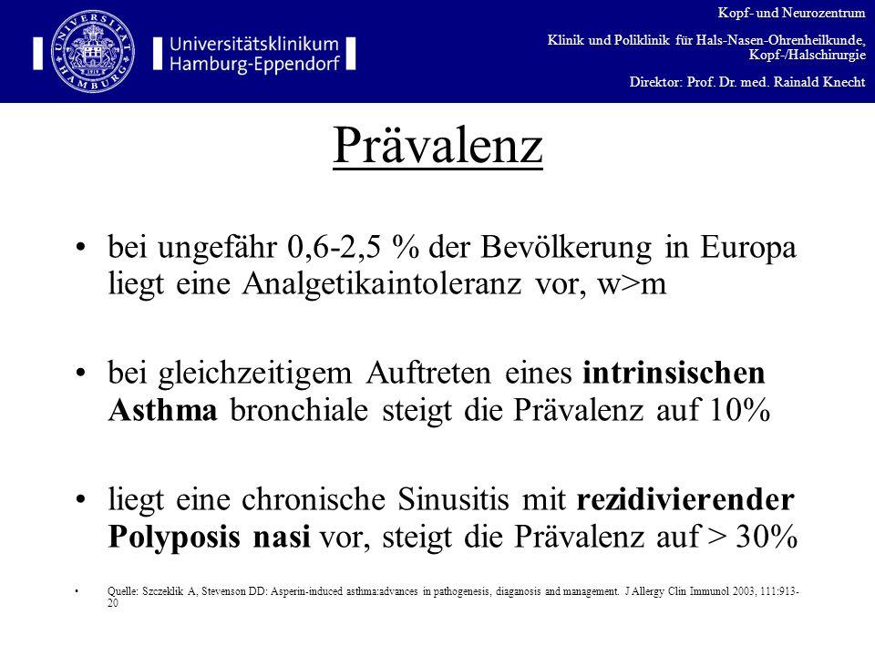 Prävalenz bei ungefähr 0,6-2,5 % der Bevölkerung in Europa liegt eine Analgetikaintoleranz vor, w>m.