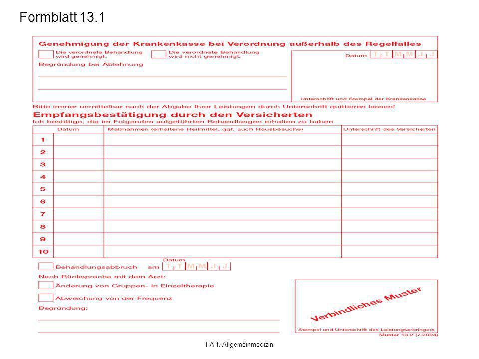 Formblatt 13.1 Klaus Schäfer FA f. Allgemeinmedizin