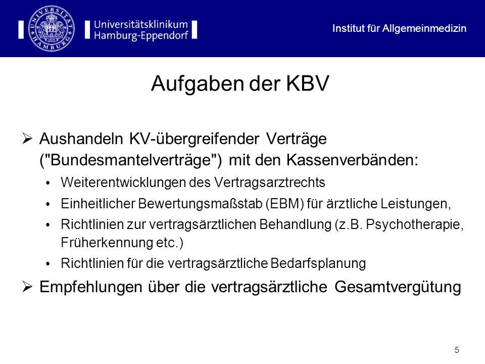 Aufgaben der KBV Aushandeln KV-übergreifender Verträge ( Bundesmantelverträge ) mit den Kassenverbänden: