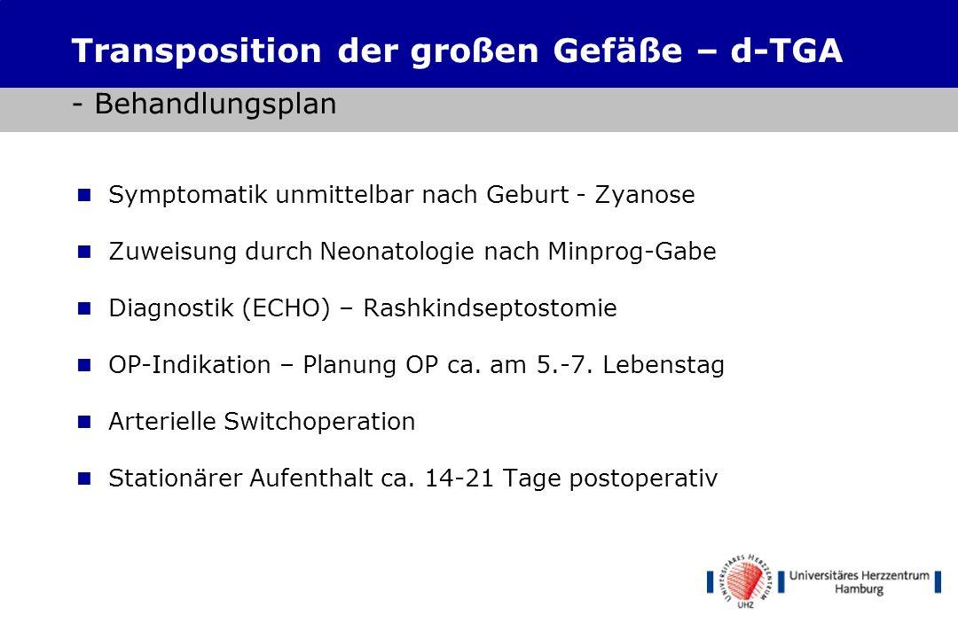 Transposition der großen Gefäße – d-TGA - Behandlungsplan
