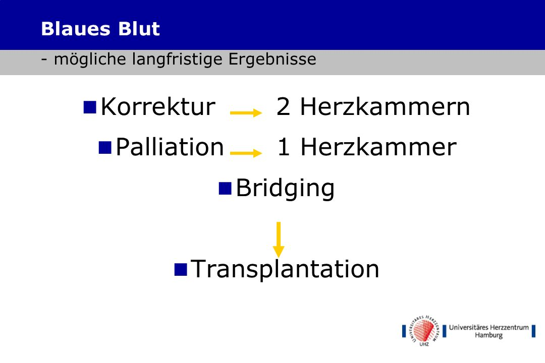 Korrektur 2 Herzkammern Palliation 1 Herzkammer Bridging