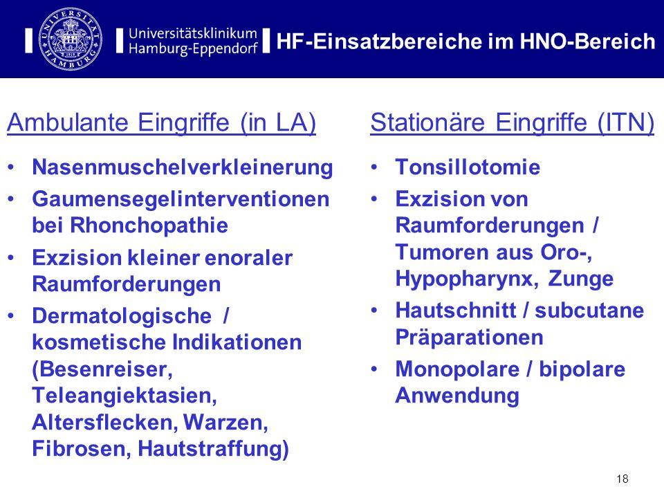 HF-Einsatzbereiche im HNO-Bereich