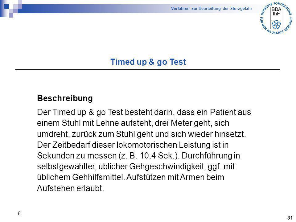Timed up & go Test Beschreibung