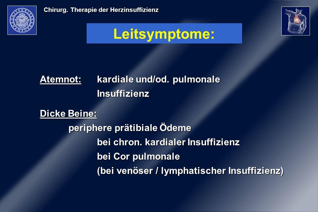 Leitsymptome: Atemnot: kardiale und/od. pulmonale Insuffizienz