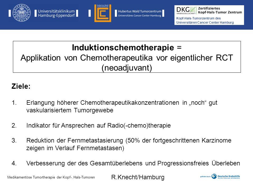 Induktionschemotherapie = Applikation von Chemotherapeutika vor eigentlicher RCT (neoadjuvant)