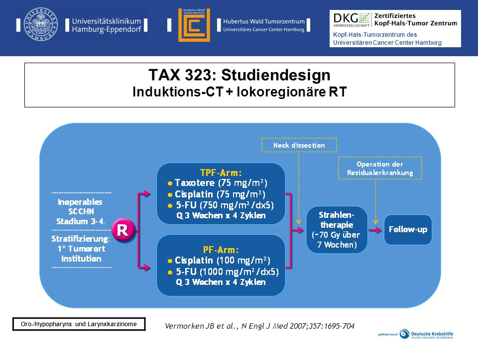 TAX 323: Studiendesign Induktions-CT + lokoregionäre RT