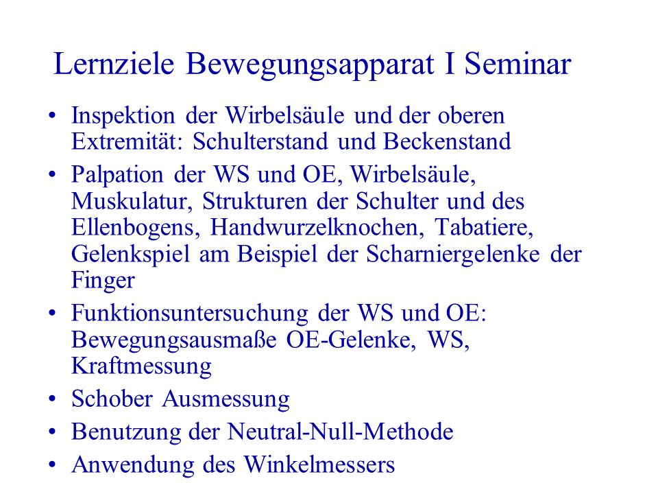 Lernziele Bewegungsapparat I Seminar