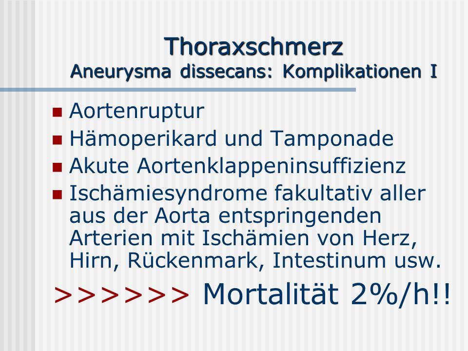Thoraxschmerz Aneurysma dissecans: Komplikationen I