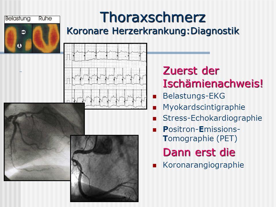 Thoraxschmerz Koronare Herzerkrankung:Diagnostik