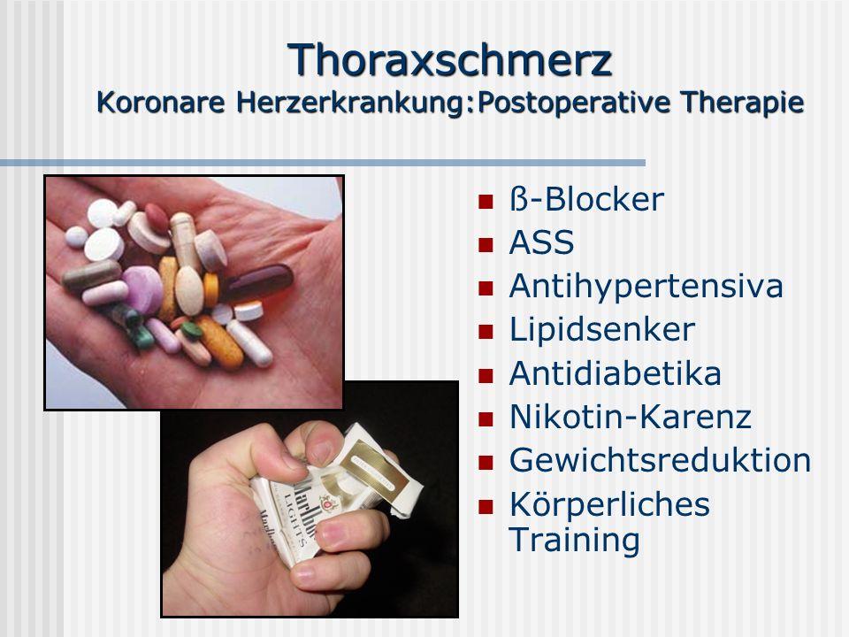 Thoraxschmerz Koronare Herzerkrankung:Postoperative Therapie