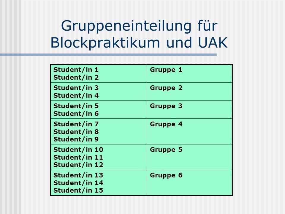 Gruppeneinteilung für Blockpraktikum und UAK