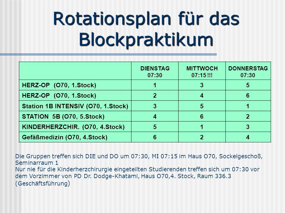 Rotationsplan für das Blockpraktikum